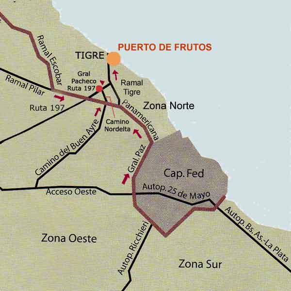 Como llegar al Puerto de Frutos desde: el Sur - el Oeste y el Norte